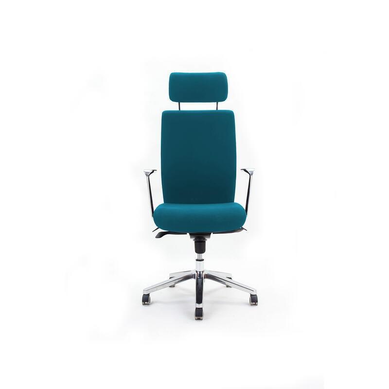 Emagra Kancelářská židle B3L s opěrkou hlavy a s područkami, modrá