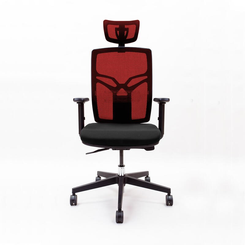 Emagra Kancelářská židle X8 s opěrkou hlavy a područkami, červená